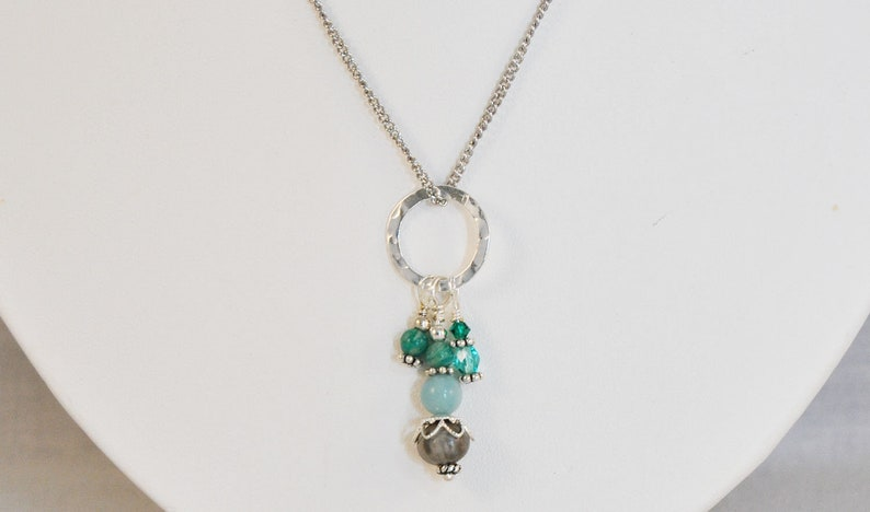 stainless steel chain 24 in Job/'s Tears Necklace with Amazonite  and Turquoise