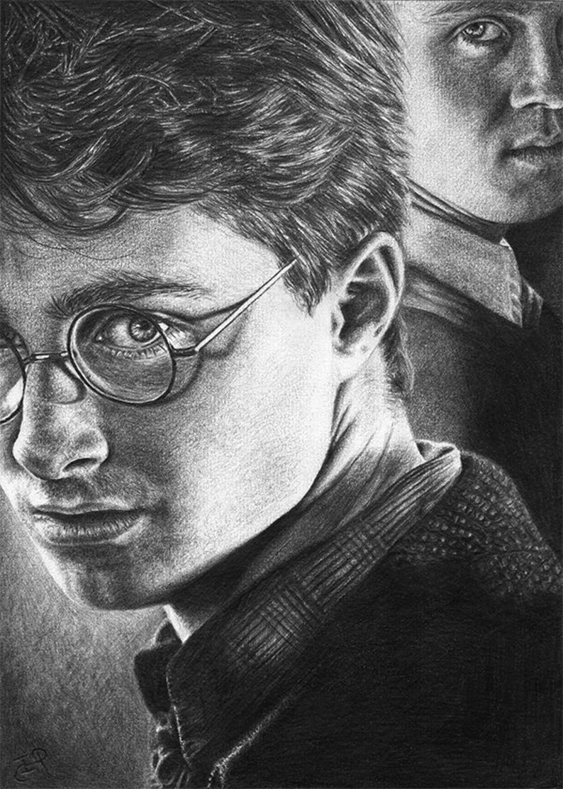 Harry Potter And Draco Malfoy Original Graphite Pencil Drawing Etsy
