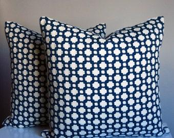 Blue Pillow Cover, Betwixt Indigo, Ivory, Betwixt Sale, Geometric Pillow, Designer Pillow, Modern Pillow, Nautical, Beachy, Schumacher