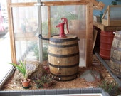 Whiskey Barrel Rain Barrel c/ Red Pitcher Pump-Flex Fit Diverter-FREE SHIPPING