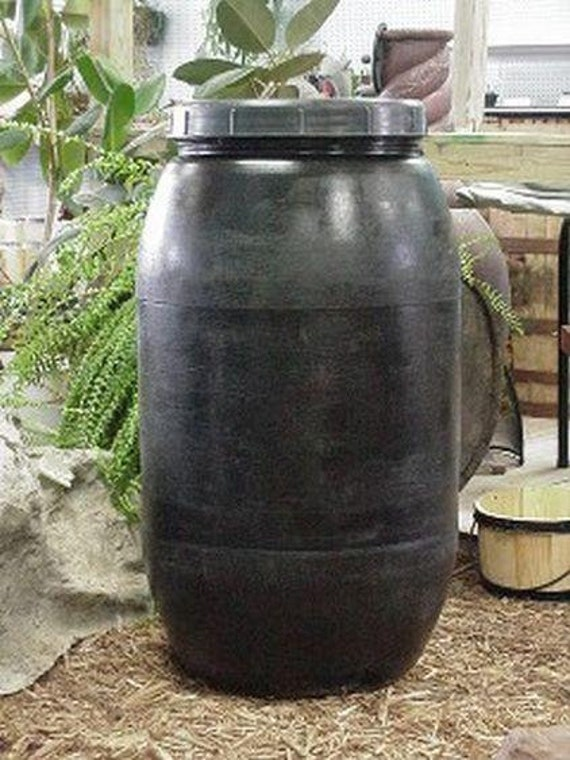 60 Gallon Black Plastic Food Grade Storage Barrel C Screw On
