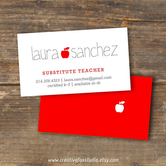 Teacher or substitute business card applelicious tutor etsy image 0 colourmoves