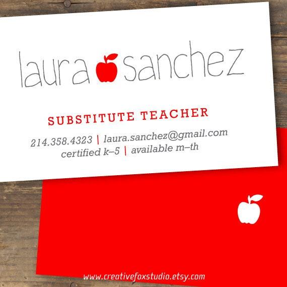 Lehrer Oder Ersatz Visitenkarte Applelicious Lehrer Karte Zum Ausdrucken
