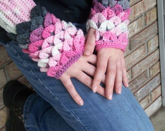 Mermaid Scale/Dragon Scale/Wood Faerie Fingerless Gloves/Arm Warmers--Hand Crocheted in Shades of Pink and Gray