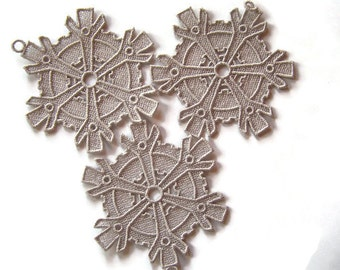 Set of 3 Lace Steampunk Snowflake Ornaments