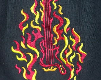Flaming Guitar Backpack Bag--Red-Orange-Yellow