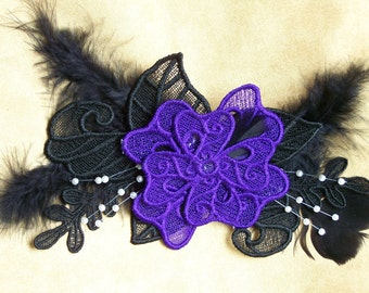Floral Freestanding Lace & Feather Hair Facinator, Purple and Black, Goth