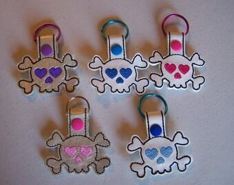 Girly Skull & Crossbones Key Fob