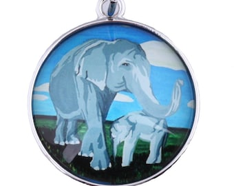 Elephant Purse Charm Salvador Kitti Gentle Giants Zipper Charm From My Painting Elephant Handbag Charm