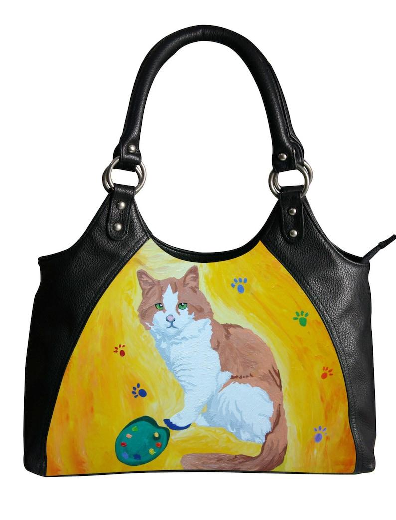 a0983a090269 Cat Vegan Leather Shoulder Bag Retro Handbag by Salvador
