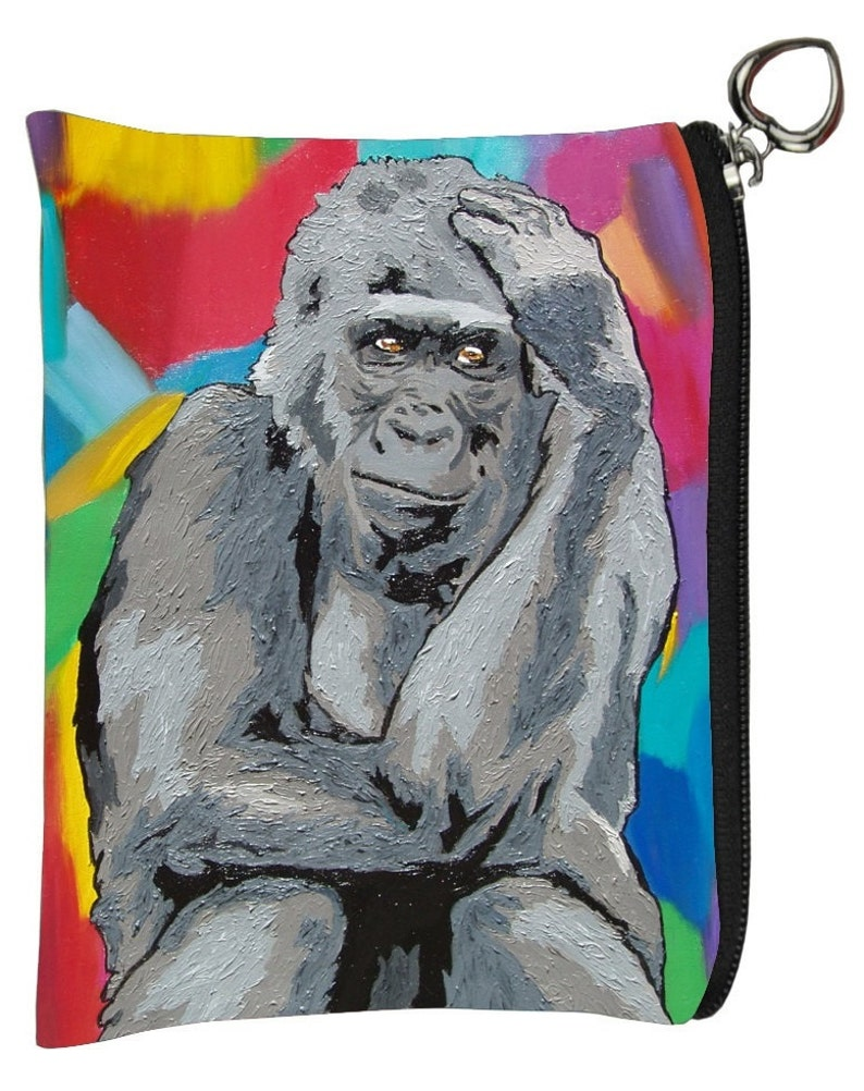 The Thinker Gorilla Change Purse Salvador Kitti From my Original Oil Painting
