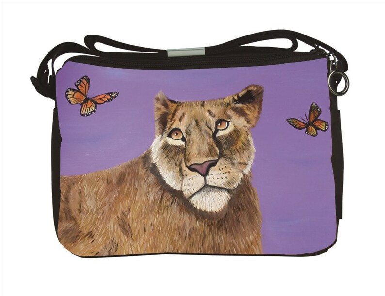 Read How From My Original Painting Curiosity-   Support Wildlife Conservation Lioness Large Messenger Bag by Salvador Kitti
