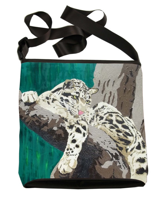 From my orginal Painting Clouded Leopard Pouch Wristlet with detachable strap