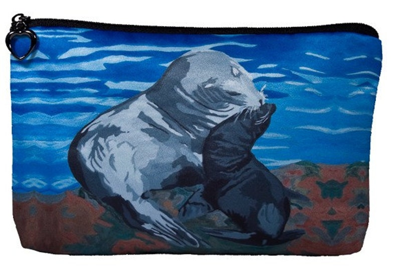Sea Lions Cosmetic Bag by Salvador Kitti - From My Painting, Treasure