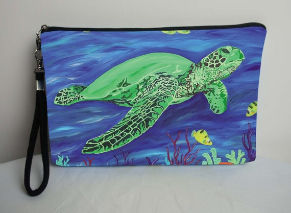 0a6b8d8fef29 Sea Turtle Pouch Large Cosmetic Bag with detachable strap