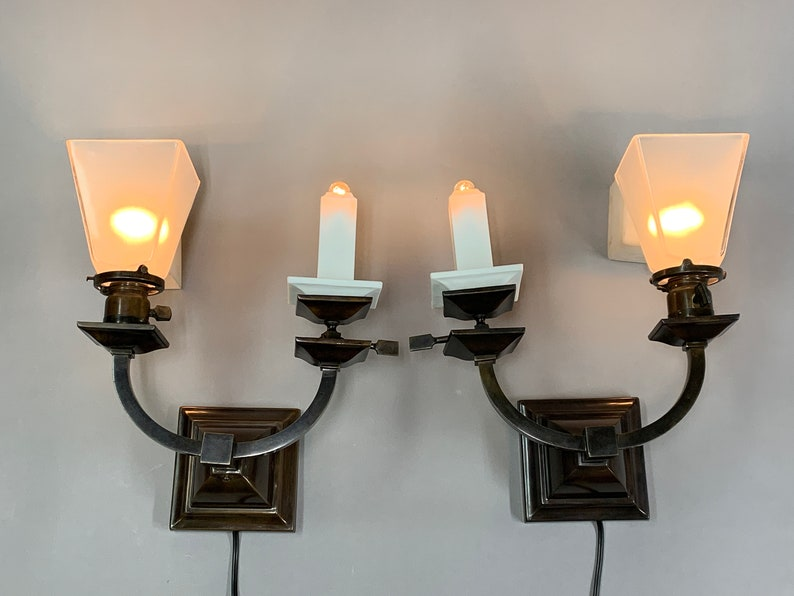 Pair Of Restored Arts And Crafts Wall Sconces Ca 1905 Gas Etsy