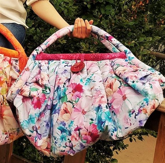 Purple and Fuschia batik fabric Large Overnight Bag Tote Bag Diaper or Yoga Bag in a Blue Commuter Bag Beach Bag Weekend Bag Gym