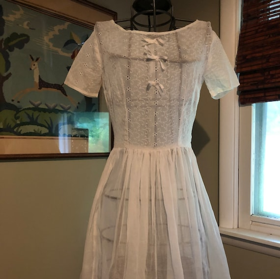 Late 1950s white organdy dress with eyelet bodice