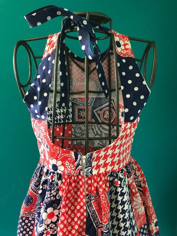 Late 1960s patchwork print  halter mini dress - image 9