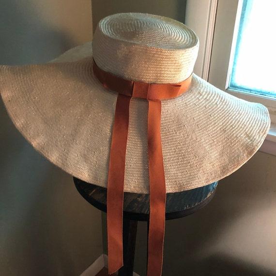 1950s blonde wide brim straw hat - image 3