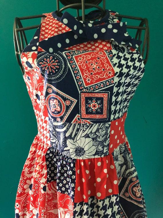 Late 1960s patchwork print  halter mini dress - image 4