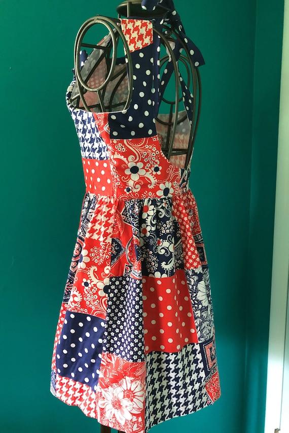 Late 1960s patchwork print  halter mini dress - image 10