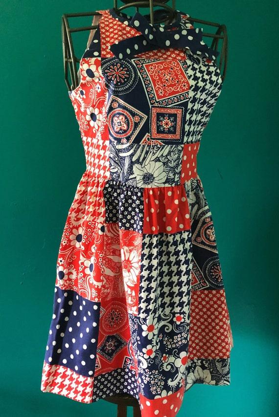 Late 1960s patchwork print  halter mini dress - image 3