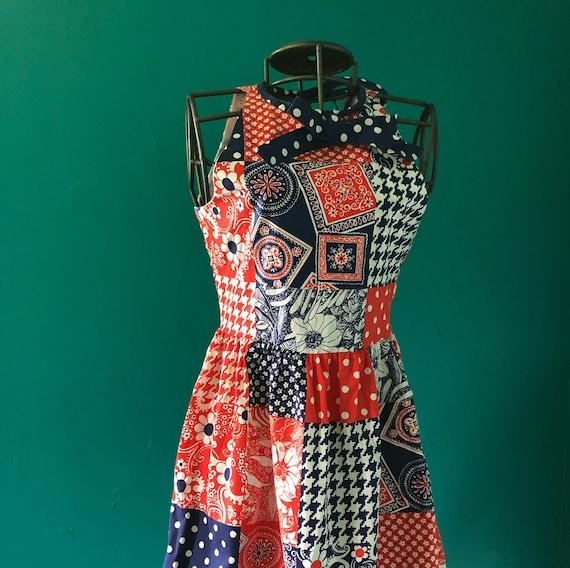 Late 1960s patchwork print  halter mini dress - image 1