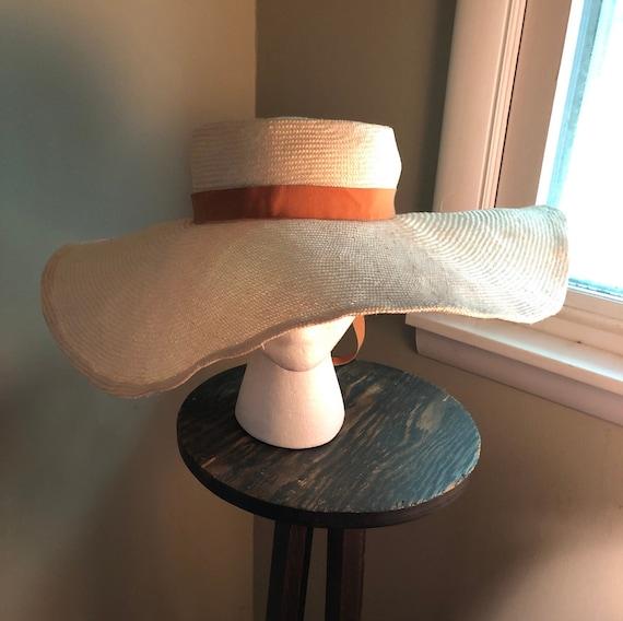 1950s blonde wide brim straw hat - image 1