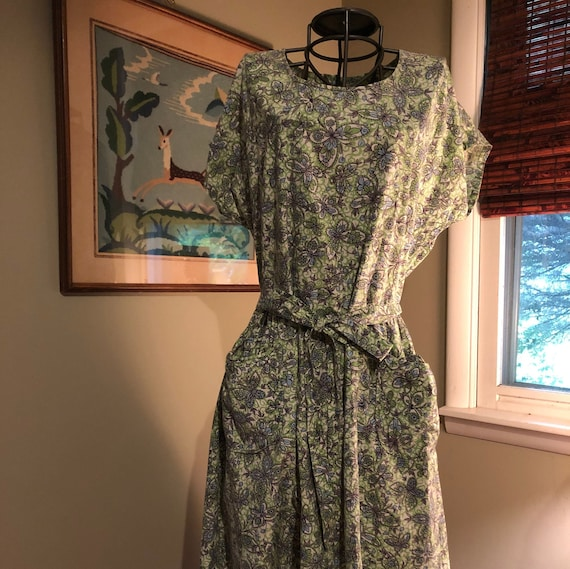 Late 1940s butterfly print wrap dress