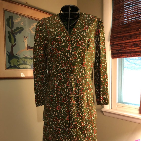 1965 green and orange paisley corduroy suit