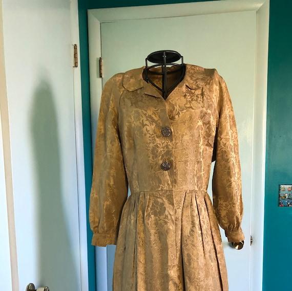 1950s gold brocade shirtwaist dress