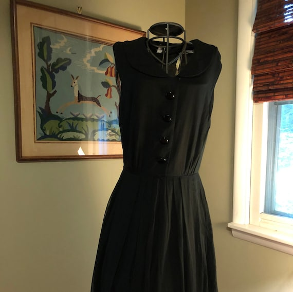 1950s black cotton voile dress