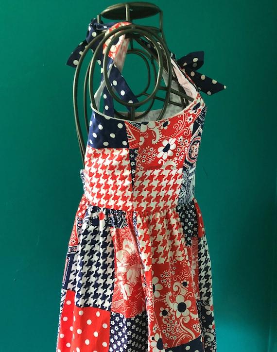 Late 1960s patchwork print  halter mini dress - image 6