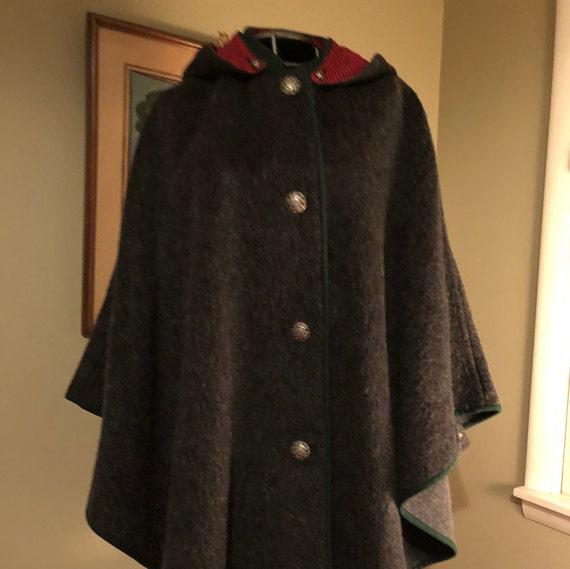 Vintage German grey wool cape with hood