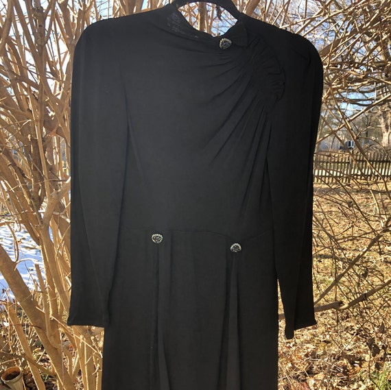 Late 1930s black rayon dress with asymmetrical ruc