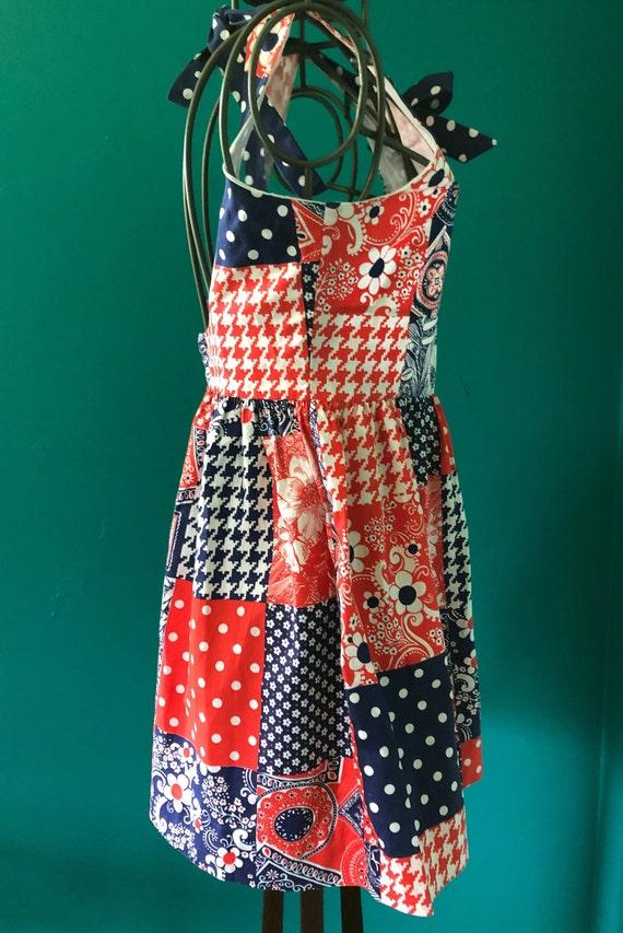 Late 1960s patchwork print  halter mini dress - image 5