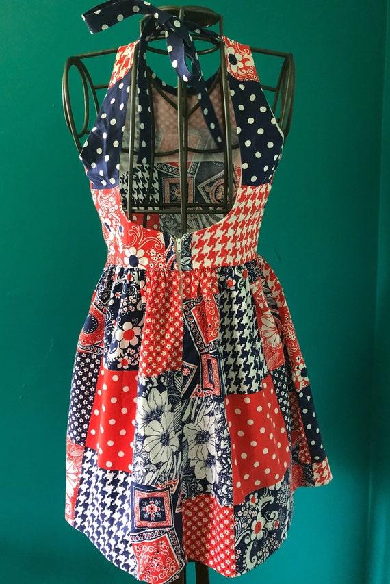 Late 1960s patchwork print  halter mini dress - image 8