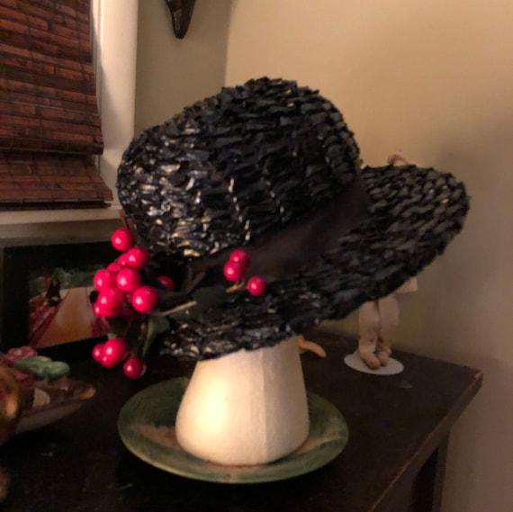1950s black raffia hat with cherries