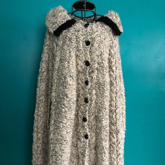 1960s hand knit grey cape with black accents