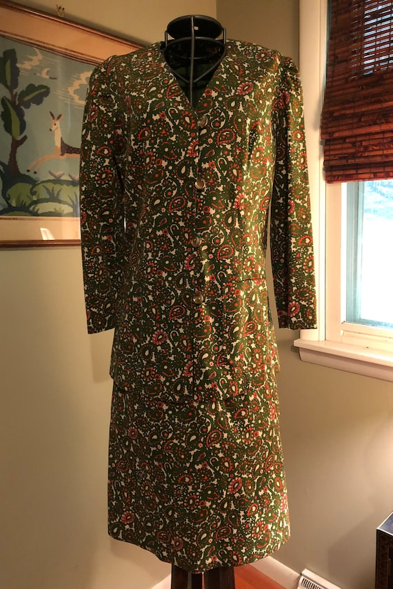 1965 green and orange paisley corduroy suit - image 2