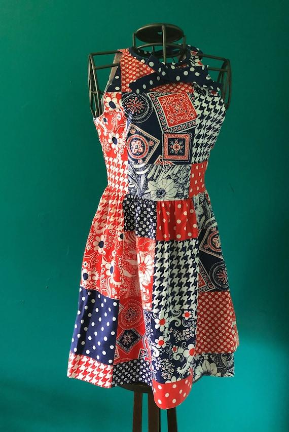 Late 1960s patchwork print  halter mini dress - image 2
