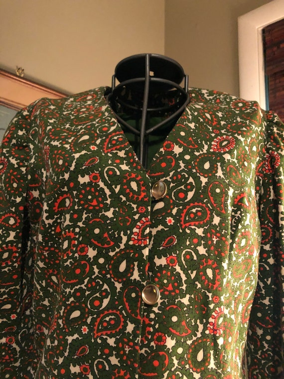1965 green and orange paisley corduroy suit - image 4