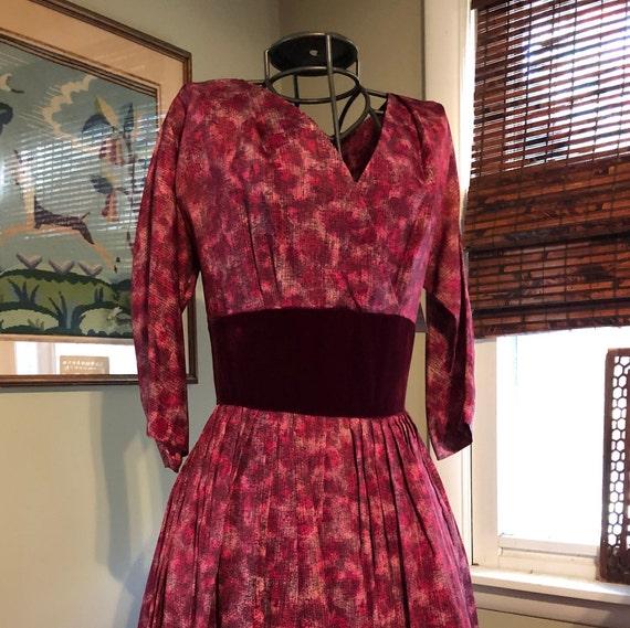 Late 1940s/ early 1950s raspberry silk dress