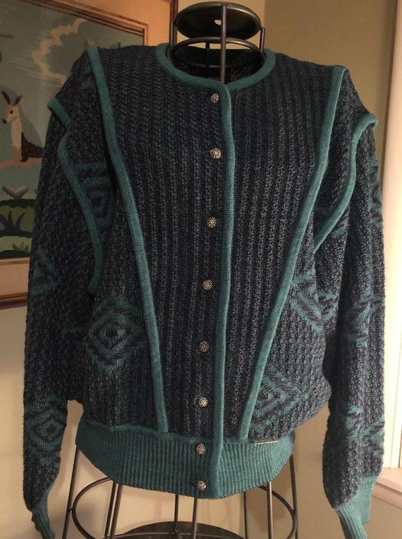 1980s Austrian wool sweater jacket
