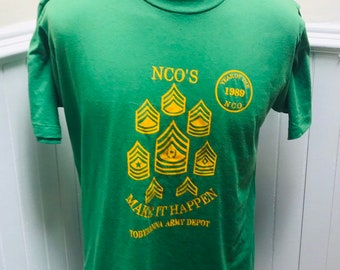 abecb02842195 Vintage 1980s Green and Gold NCO s Make it Happen Tobyhanna Army Depot 1989  TShirt- XL 46