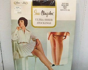 2ebf6446b Vintage NOS 1970s Sears Cling A Lon Stockings Lingerie Hosiery - Size B