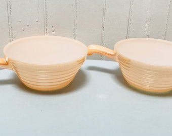 Vintage 1960s Fire King Peach Lustre Orange White Small Baking/Serving Bowls with Handles (2)