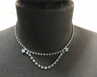 Vintage 1960s Blue Crystal Rhinestone & Silver Choker Short Necklace