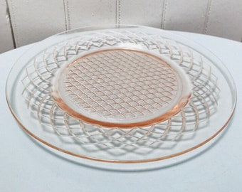 Vintage 1950s Pink Glass Small Serving Plate, Scalloped Design
